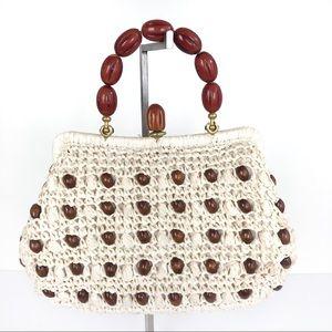 Vintage Bags - Vtg CARINA Italy Raffia Beaded Handbag 1960's